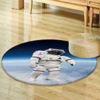 Round Area Rug astronaut wearing pressure suit in a space background Indoor/Outdoor Round Area Rug -Round 35