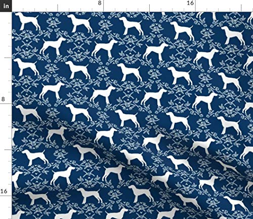 (Shorthair Pointer Fabric - German Dog Breed Silhouette Floral Navy Dogs Pet Portrait Gift Print on Fabric by The Yard - Chiffon for Sewing Fashion Apparel Dresses Home Decor)