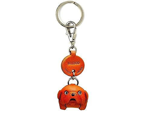 BullDog cuero perro pequeño llavero VANCA craft-collectible llavero hecho en Japón