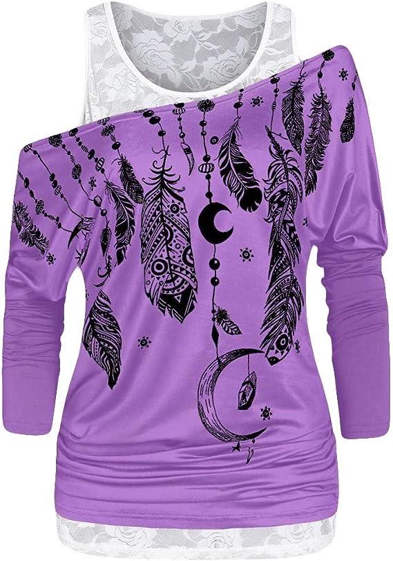 Luckycat Mujer Casual 2 in 1 Camiseta Manga Larga Suelto T-Shirt ...