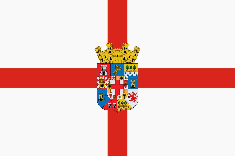 magFlags Bandera Large Provincia de Almería España Escudo Provincial sobre La Cruz de San Jorge | Bandera Paisaje | 1.35m² | 90x150cm: Amazon.es: Jardín