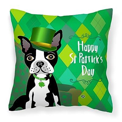 Caroline's Treasures VHA3006PW1414 St Patrick's Day Boston Terrier Fabric Decorative Pillow, 14Hx14W, Multicolor : Garden & Outdoor