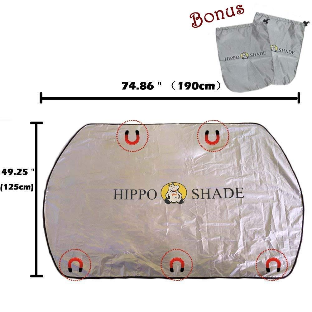 Magn/étique Anti Givre Soleil Bache Hippo Couverture Pluie 5 Aimants Mobiles Neige pour Pare Brise Avant Voiture Protection de Pare-Brise Anti Glace