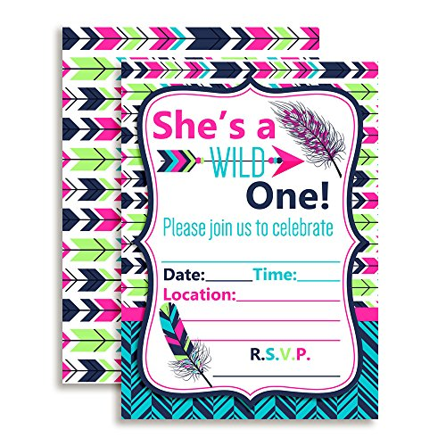 Wild One Girl, Tribal Boho Birthday Party Invitations Fill In Invitations, 10 5