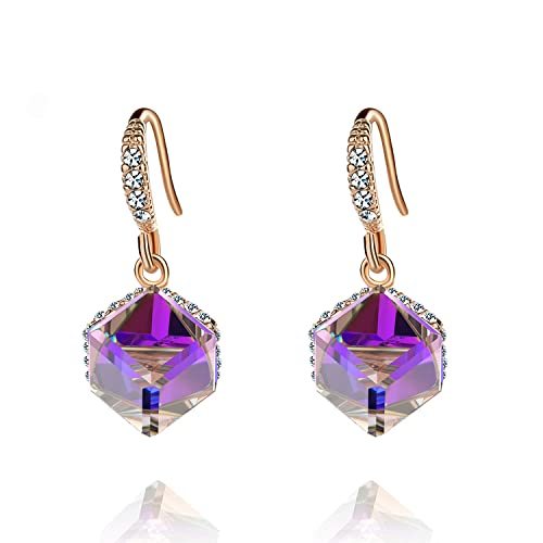 29cd5a4f7 Colorful Cube Swarovski Crystal Earrings for Women Girls 14K Gold Plated  Color Changing Drop Earrings (