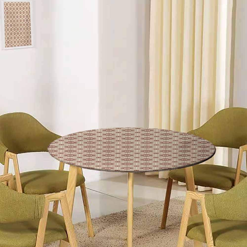 UNOSEKSHOME Vintage,Tabletop Decoration Victorian Inspirations Pattern Ancient Flowers Curves and Spirals Buffet Decoration(Elastic Edged) Beige Brown Pale Orange 39.5''-41.5'' Round