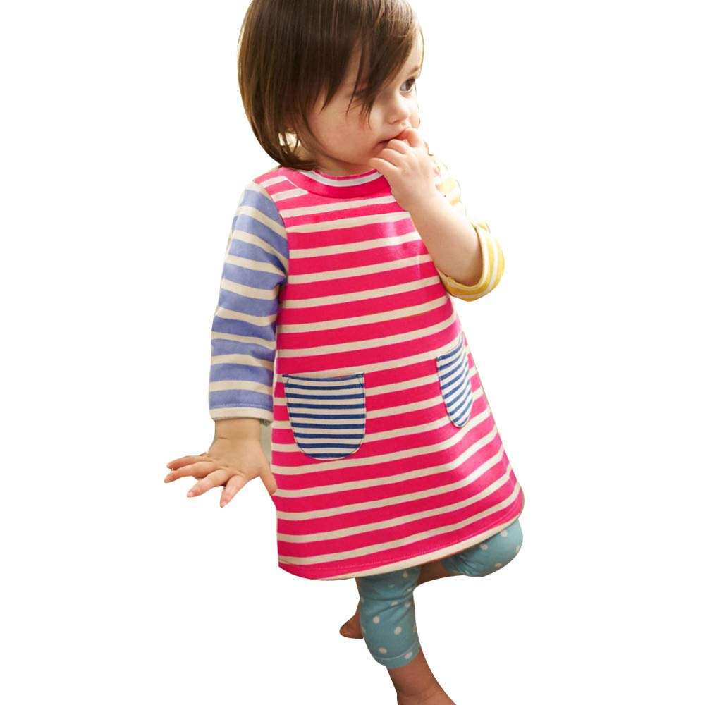 Cute Baby Outfits!Opeer Toddler Kids Baby Girl Striped Pocket Princess Party Dress Clothes Outfits 6Months-5Years