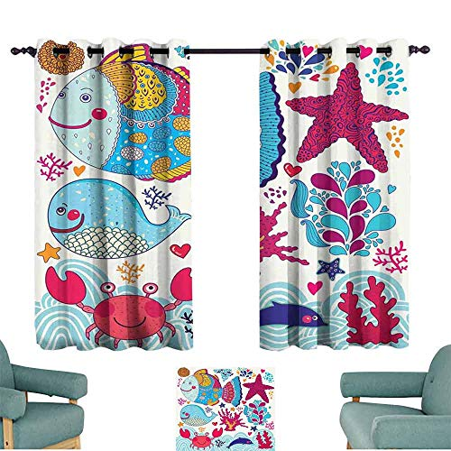 Mannwarehouse Whale Noise Reduction Curtain Funny Fishes Starfish Coral Crab Underwater Life Waves Marine Clipart Illustration Set of Two Panels 72