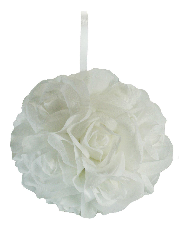 Garden-Rose-Kissing-Ball-White-6-inch-Pomander