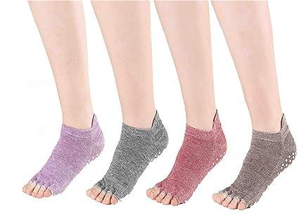 Win.Deeper 4 Pares Calcetines de Yoga Antideslizante Gimnasio Fitness Pilates Ballet Danza Deportes Calcetines para Mujer