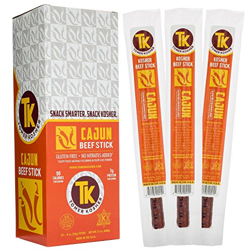 (Tomer Kosher Beef Sticks, 100% USA Beef, MSG, Gluten, and Soy Free, No Nitrates Added, (Cajun, 24-Count, .9 oz Jerky Stick))