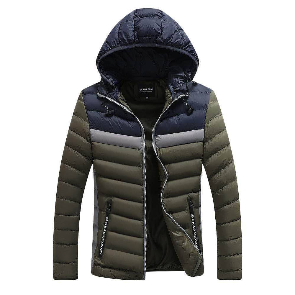 Mens Sport Coats and Blazers Big and Tall.Fashion Mens Autumn Winter Warm Packwork Pocket Zipper Hooded Jacket Top Coat