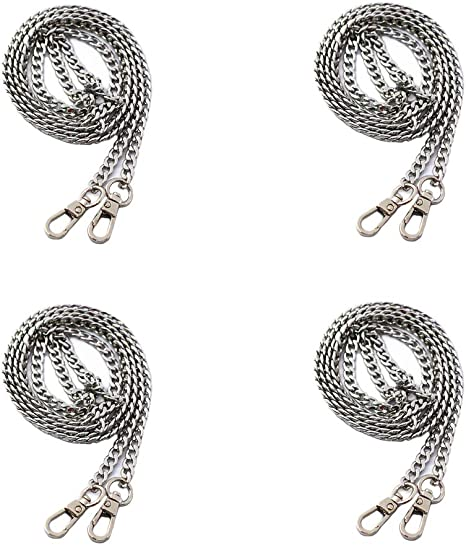 Swpeet 4Pcs Luxury Fashion 47 Inche Replacement Flat Chain Strap with Buckles Set, Perfect for DIY Metal Shoulder Cross Body Bag Hand Bag Purse Replacement ( Gold + Silver+ Bronze + Gun-Black