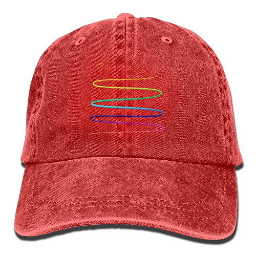 Qbeir Rainbow Swirl Adjustable Adult Cowboy Cotton Denim Hat Sunscreen Fishing Outdoors Retro Visor Cap -