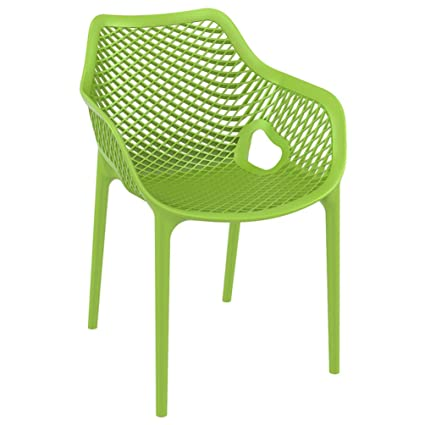 17.5u0026quot; Air XL Resin UV Resistant Stackable And Polypropylene Outdoor  Dining Arm Chairs With