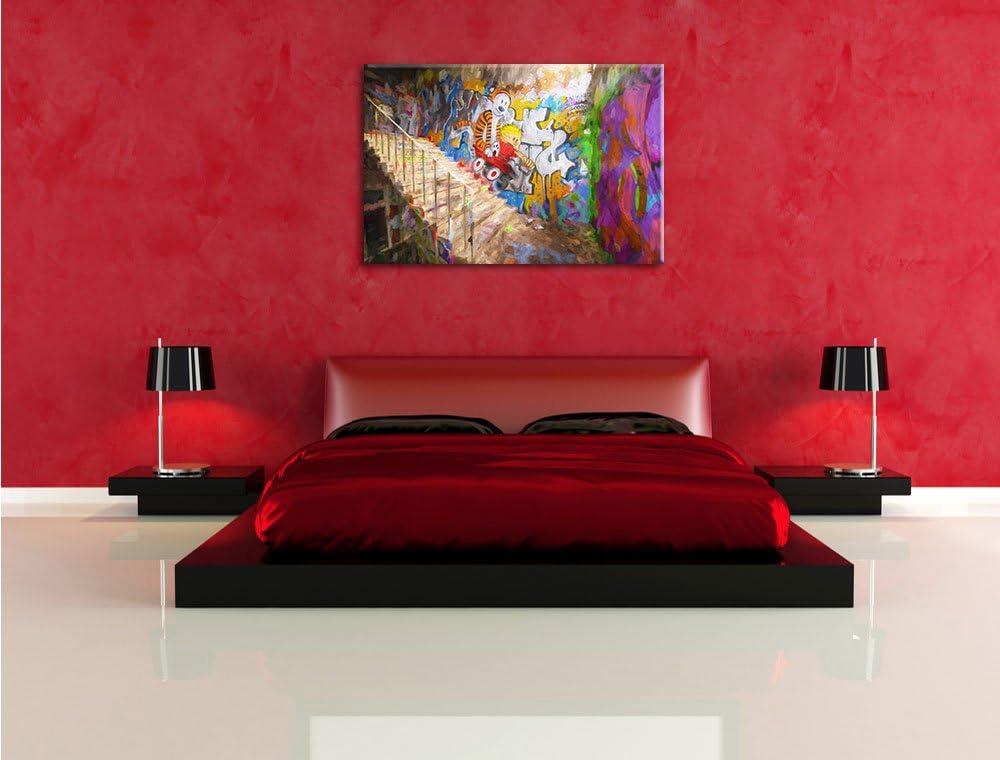 Format Effet de Brosse Graffiti 60x40 sur Toile Pixxprint Art Color/é Street