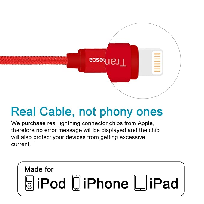 Tranesca Nylon Braided Apple Charging Cable for iPhone X,iPhone8,iPhone 7/7  Plus/iPhone 6/6s/iPad Air/iPad Pro and More-Red (6 Feet/1 8 Meter)
