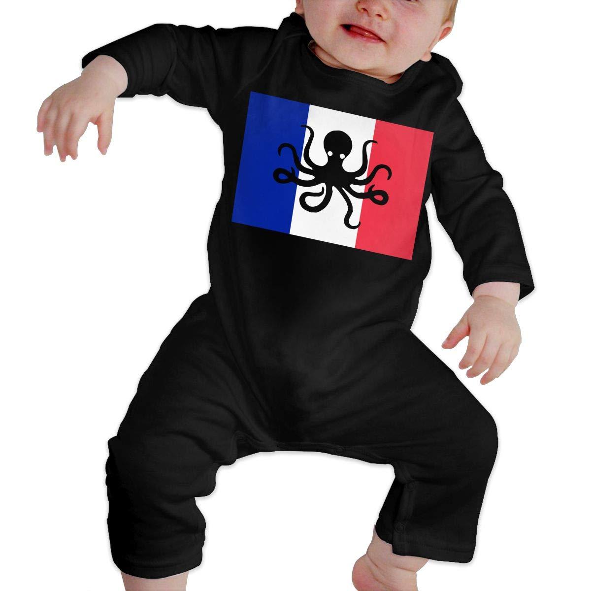 YUE--3BODY Octopus France Flag Newborn Baby Long Sleeve Baby Newborn Boy Superman Bodysuits Onesies