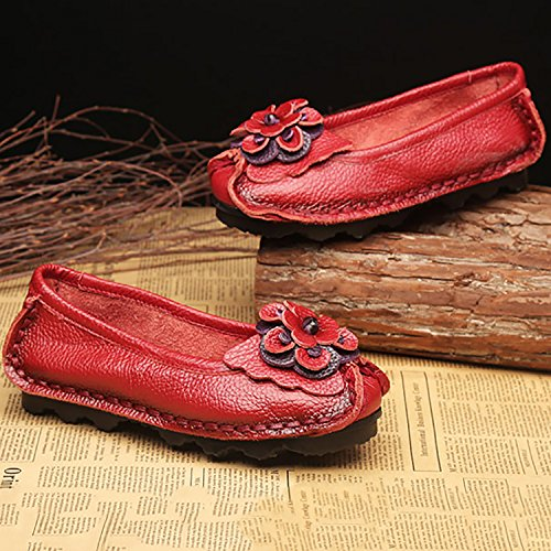 Leather Moccasins Flats Driving Shoes Casual Shoes Art Womens Slip Odema Red Walking Loafers Ons Handmade Original IH8HFz