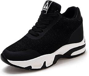 LILY999 Sneakers Donna Zeppa Interna Scarpe da Ginnastica Sportive Fitness  Tennis Tacco Zeppa 8 cm Nero cc44edbd23b