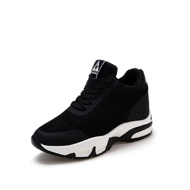 buy cheap 7d60a 2031a LILY999 Sneakers Donna Zeppa Interna Scarpe da Ginnastica Sportive Fitness  Tennis Tacco Zeppa 8 cm Nero
