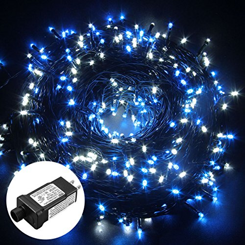 Excelvan Safe Low Voltage 500 LEDs 100M/328FT Fairy String Lights with 8 Modes for Bedroom Patio Party Wedding Christmas Decoration, Blue White
