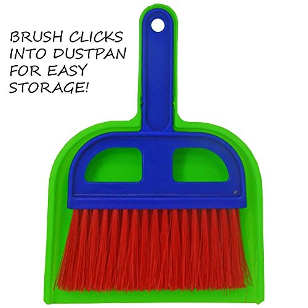 Mini Whisk Broom and Dustpan set. Great for Cleaning Compact Spaces - Desks, Cars, Campers & Tents, Offices, Bathrooms, Kitchen Counters, Drawers, Cabinets, and More! Compact Storage, Fun Colors