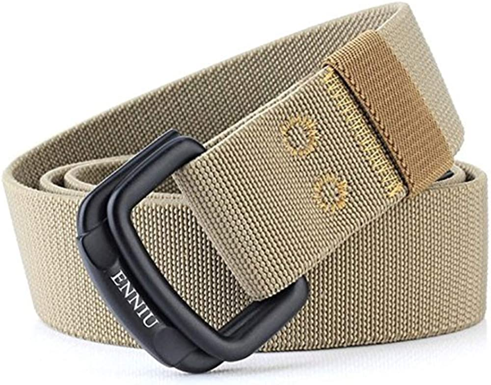 LVLUOYE Men Belt Double Ring Buckle Leather For T Daily Similar Flood Fraction Casual Canvas Weave Pants Beige