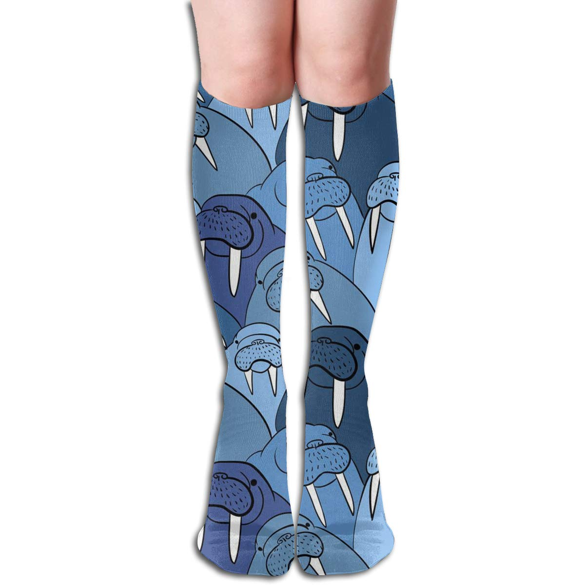 Cartoon Purple Flower Compression Socks For Women Casual Fashion Crew Socks