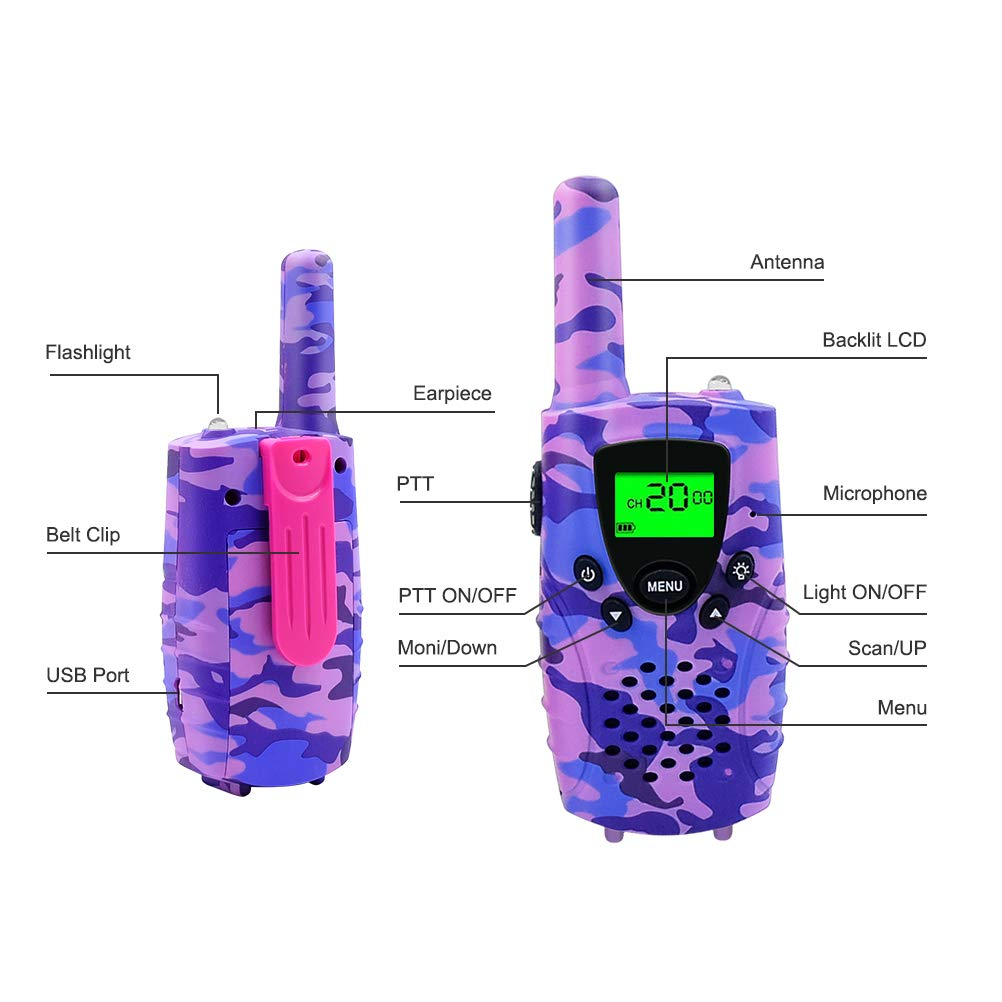 FAYOGOO Kids Walkie Talkies, 22-Channel FRS/GMRS Radio, 4-Mile Range Two Way Radios with Flashlight and LCD Screen, and Toys for 3-12 Year Old Girls, 2 Pack (Camo Purple) by FAYOGOO (Image #1)