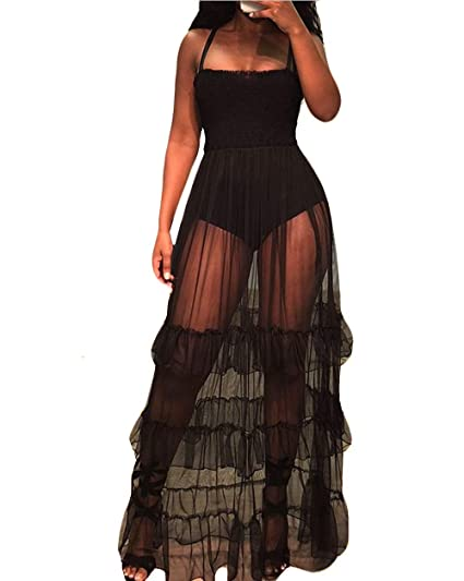 1b12631699 YSJERA Women s Sexy Deep V-Neck Semi Sheer Maxi Lace Dress Swimwear Beach  Cover Up