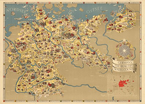 the beautiful travel country 1936 | Historic Antique Vintage Map Reprint (Germany Antique Map)