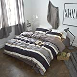 AMWAN Luxury Striped Duvet Cover Set Solid Reversible Bedding Set Twin 100% Cotton Men Boys Duvet Cover Set Hotel Quality Soft Winter Comforter Cover Set with 2 Pillow Shams, Zipper Closure, Style2
