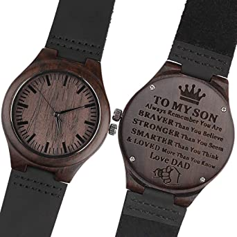 99646ae29a32c Amazon.com  Engraved Wooden Watches for Son - Engraved  to My Son Love Dad   -Perfect Gift from Dad to Sons Watch Birthday Gift  Watches