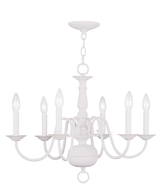 Christmas Tablescape Decor - Affordable White Williamsburg 6-Light Chandelier