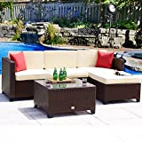 Cheap Cloud Mountain 5PC Rattan Wicker Sectional Set Cushioned Sofa Conversation Set Wicker Furniture Set Outdoor Garden Patio Sofa Loveseat, Cocoa Brown Rattan Beige Cushions