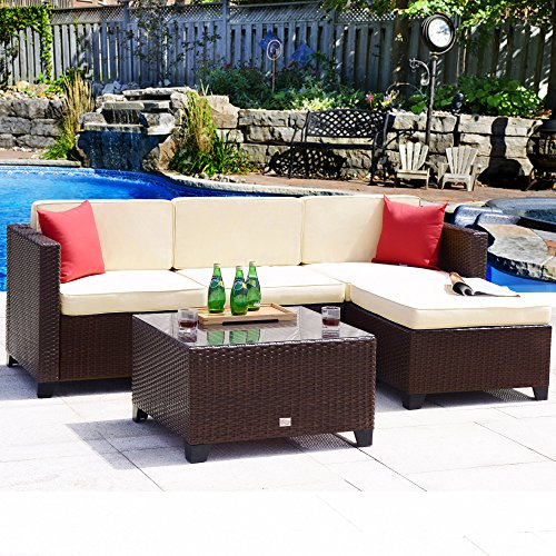 Cloud Mountain Outdoor Sectional 5 Piece Wicker Patio Furniture Set Rattan Outdoor Conversation Sofa Dining Set Comfortable Modern Stylish Easy Assembly Patio Garden Lawn Balcony Backyard with Thick C ()