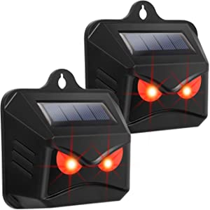 Thanos Nighttime Animal Deterrent Light Solar Powered Nocturnal Animal Repeller with Bright Strobe LED Lights Scare Skunk Coyote Weasel Wolf Away for Garden Chicken Coop Orchards Livestock (2 Pack)