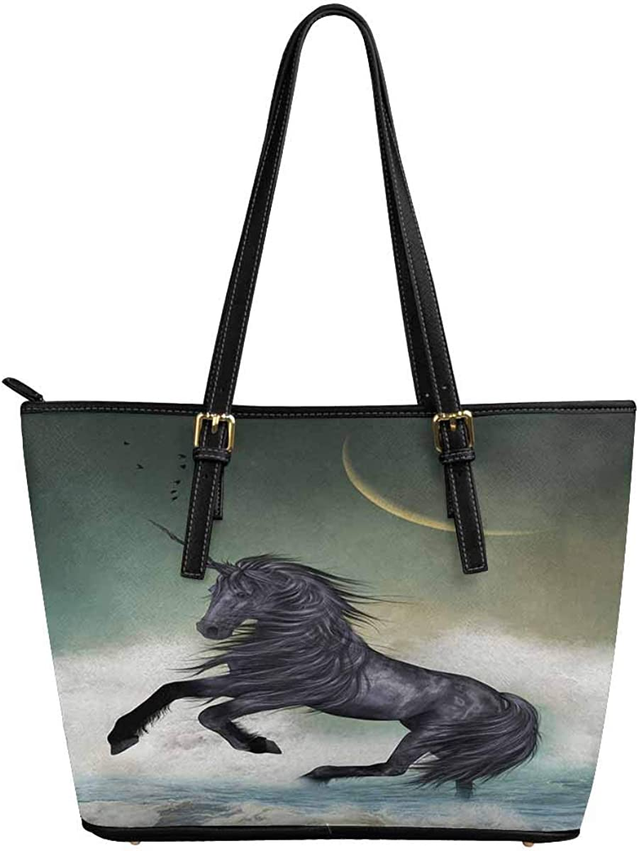 InterestPrint Womens Tote Bags PU Leather Work School Travel and Shopping Unicorn in the Ocean