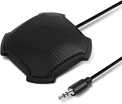 3.5mm Plug Stereo Desktop Mic Surface Mounted Mic for Teleconferencing Item: 2 x 2 x 1 inch eBerry Boundary Omnidirectional Condenser Microphone Meetings /& Desktop Computer Use Cord: 4.6ft