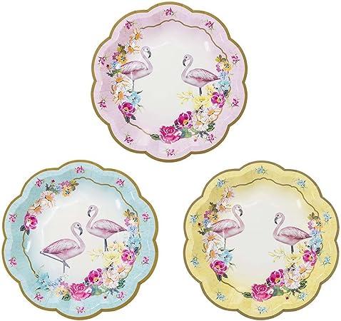 3 Diversi Design Motivo Floreale con Fenicotteri Piattini di Carta Talking Tables Confezione da 12 18 cm per Compleanno o Festa Colore Blu//Rosa//Giallo Truly Flamingo