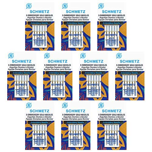 (50 SchmetzGold EmbroiderySewing Machine Needles - size75/11 - Box of 10 cards)