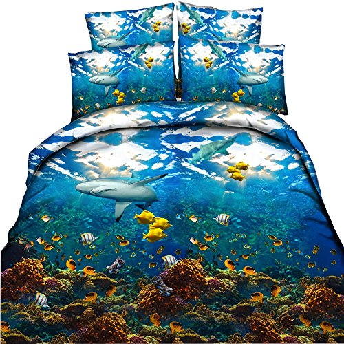 EsyDream Underwater World Animal Shark Ocean Fish With Coral Reef Kids/Boys Duvet Cover Sets No Comforter,Queen Size 4PC/Set((1 Duvet Cover +1 Flat Bed Sheet+2 Pillowcase) by EsyDream