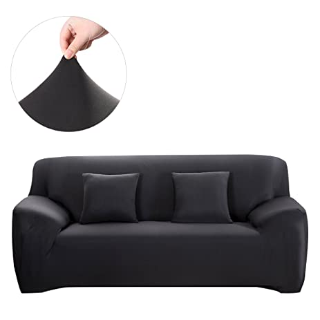 WINOMO Sofa Slipcover Black Couch Covers Furniture Protector With Pillow  Cases Elastic