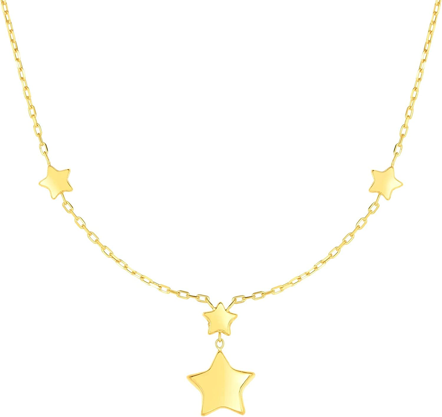 14K Yellow Gold Finish Chain 17 with Drop Element Shiny Star Fancy Necklace Lobster Clasp by IcedTime