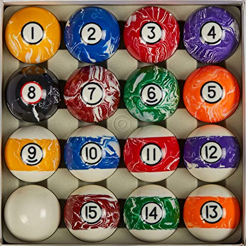 Collapsar Deluxe Billiard Pool Ball Marble-Swirl Style 2-1/4 Inch Regulation Size Complete 16 Pool Balls Billiard Set (Several Style Available) (White Marble with Black Circle)
