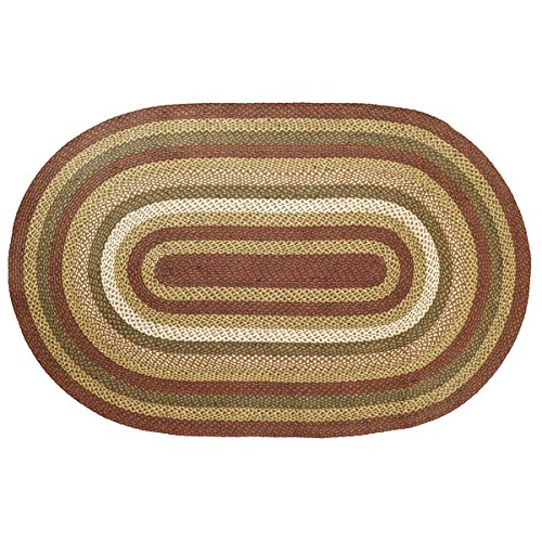 VHC Brands Rustic & Lodge Flooring - Tea Cabin Green Jute Rug, 5' x (Oval Moss Green Area Rugs)