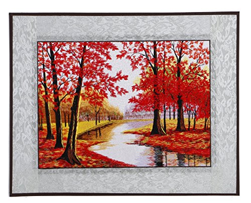 AWEVILIA Red Maple Forest Embroidery Wall Paintings Handmade Artwork for Decoration Corrider Living Room Decor Unframed