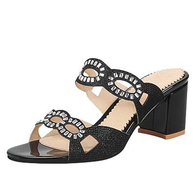 UH Damen Glitzer Pantoletten mit Blockabsatz Peeptoe Mules Modisch Sommer Schuhe V2iUX