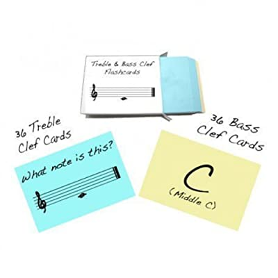 Treble Clef and Bass Clef Note Name Flashcards - Really fun design!: Toys & Games